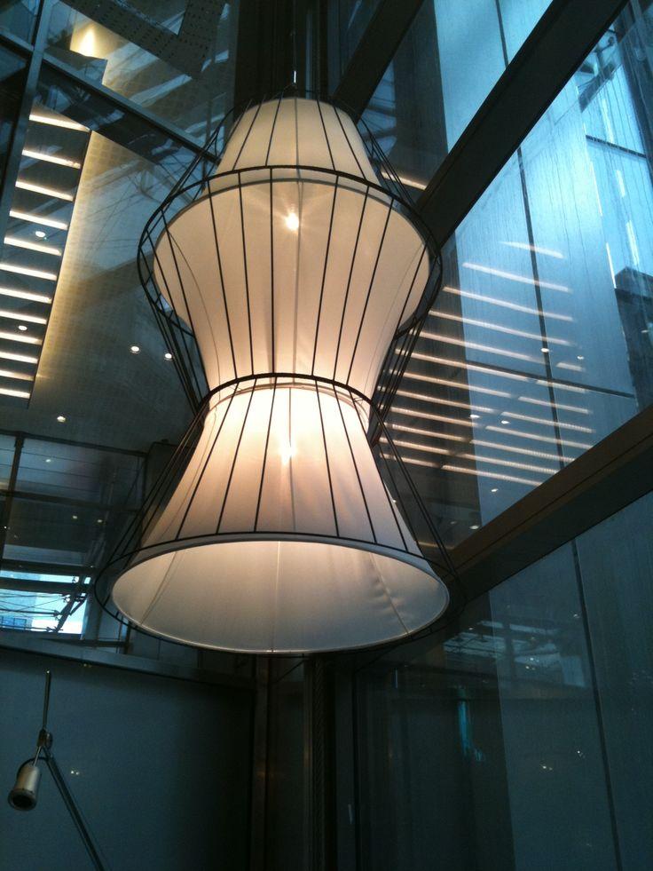 Heron Tower. Bespoke lantern shaped lights.