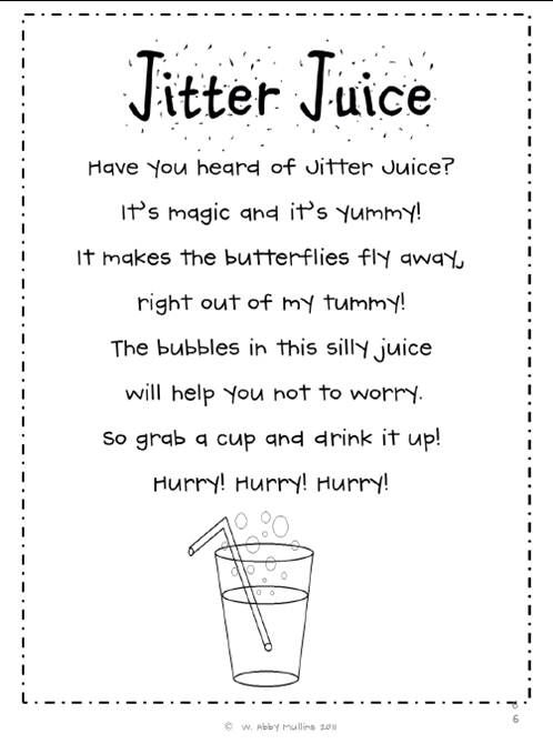 Jitter juice for those nervy first days of school. Pinned from http://4.bp.blogspot.com/-HsEdi7aNrZE/UEft0fhcxnI/AAAAAAAAAJI/tQfJud15mo4/s1600/jitter+juice.jpg