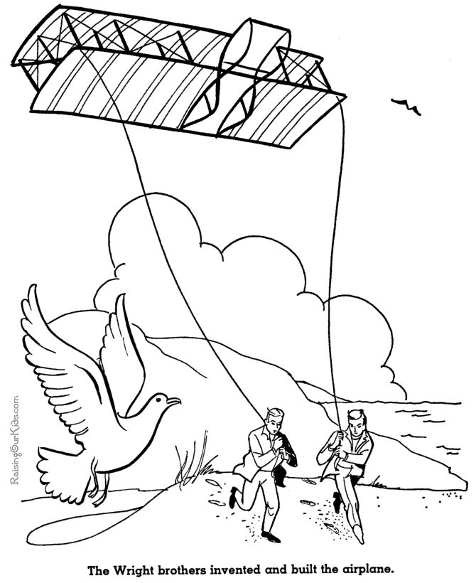 the wright brothers airplane american history coloring pages for kids 078