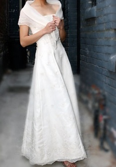 Modern Maria Clara, strapless long gown, A-line with delicate panuelo.