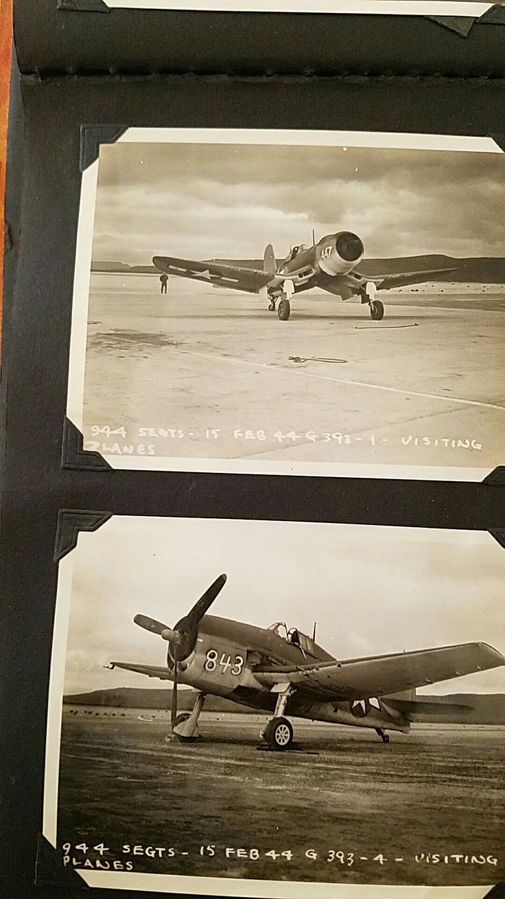 "Febuary 1944 Corsair and HellCat visit Ajo Airbase. These planes were very likely piloted by Women Pilots or W.A.S.P.'s from the factory to a shipping or ""ferry point"". -Lloyd G Culbreath collection"