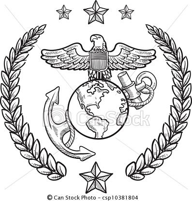 Vector - US Marine Corps military insignia - stock illustration, royalty free illustrations, stock clip art icon, stock clipart icons, logo, line art, EPS picture, pictures, graphic, graphics, drawing, drawings, vector image, artwork, EPS vector art