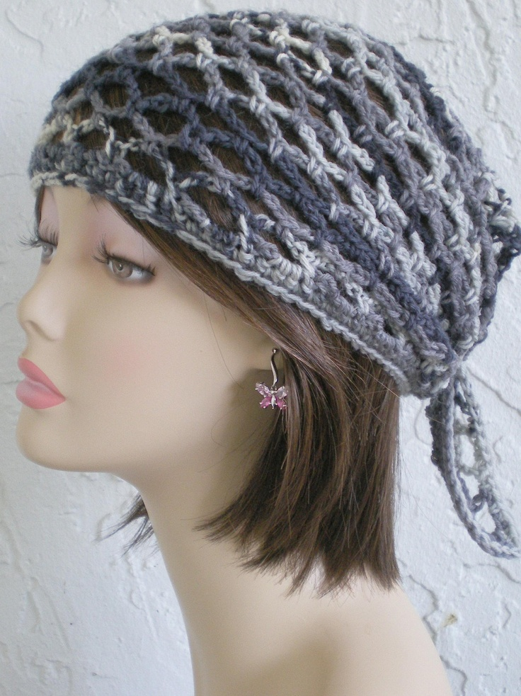 Crochet Hair Kerchief Pattern : hand crochet Bandana dorag scarf hat do rag gypsy kerchief.