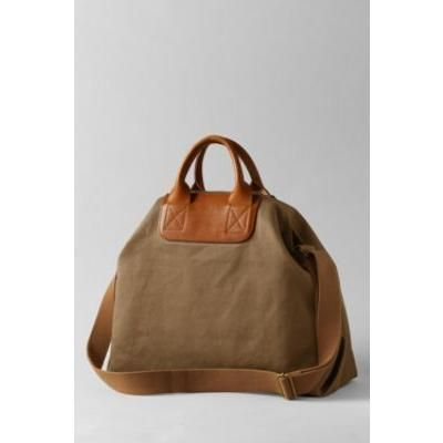 $40, Brown Canvas Tote Bag: Lands' End UK Lands End Leather Canvas Tote. Sold by Lands' End. Click for more info: https://lookastic.com/women/shop_items/67207/redirect
