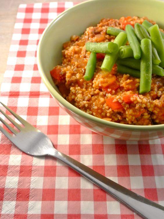 Couscous met gehakt en sperziebonen