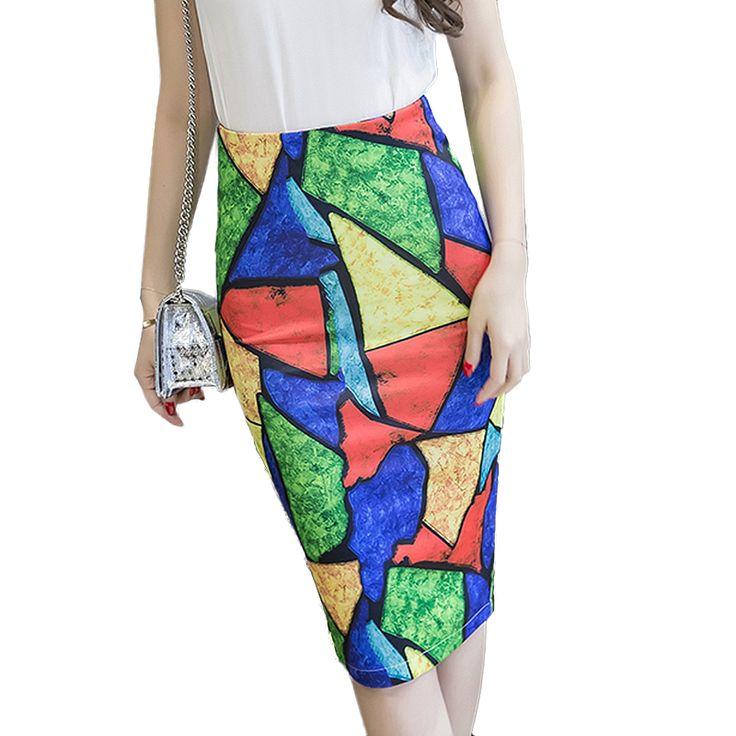 2017 vintage S-3XL Plus Size Pencil Skirt Summer Bodycon women skirts high waist slim geometric print long midi saias faldas #Affiliate