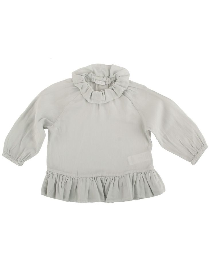 mousegrey girls blouse with flounce #ilgufo #webshop