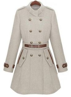 Fashion European Style Double Breasted Stand Collar Coat