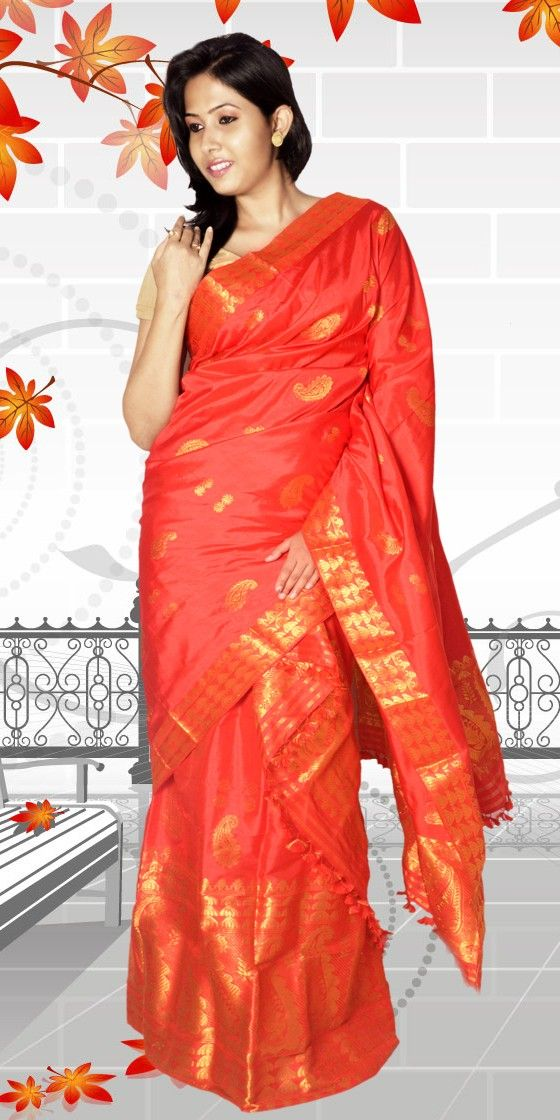 Beautiful Orange colour Assam Silk Pat Mekhla Chadar with artistic Kolka Buta Guna work giving a classic look to the collection. This Unique Pure Assam Silk collection can be used as both Fesival and Wedding wear. The Mekhla Chadar comes with matching blouse piece, the blouse shown in the image is just for display purpose.
