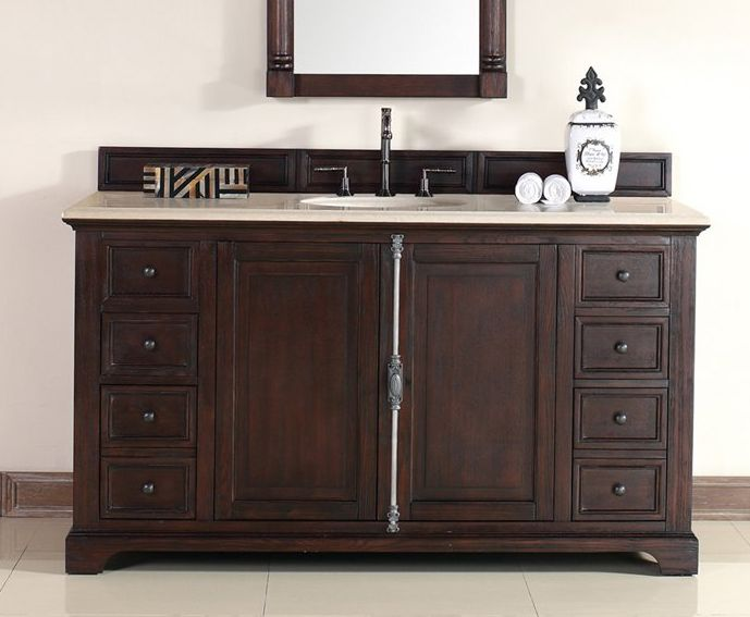 Providence 60 Inch Cottage Bathroom Vanity Sable Finish, Beige Marble Top  With Backsplash U0026 Undermount Sink
