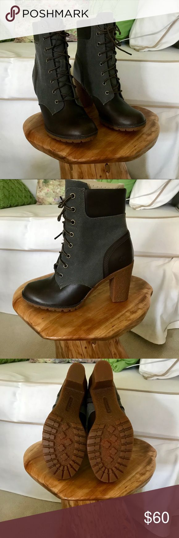 Timberland Earthkeepers Glancy Lace Up Boots, 8 Lace up boots with heeled rubber sole by timberland. Great for winter/rainy weather. Gray/ burgundy color. Women's size 8. New Timberland Shoes Ankle Boots & Booties