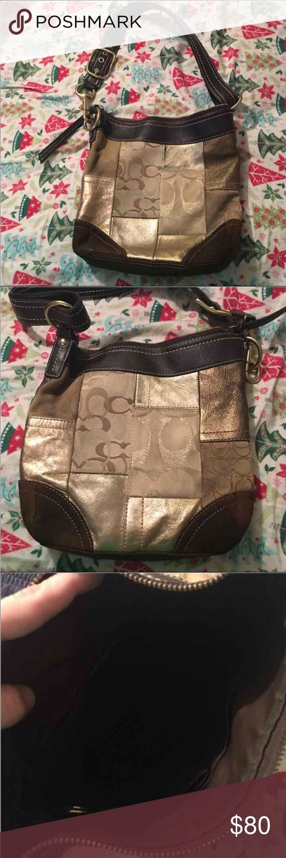 Coach purse with gold patchwork Gold hardware  SO CUTE!!! pre used condition!  I am in love with the patch work.  Could use a cleaning but no stains or tears  100% authentic NEEDS A GOOD CLEANING!! Coach Bags Shoulder Bags