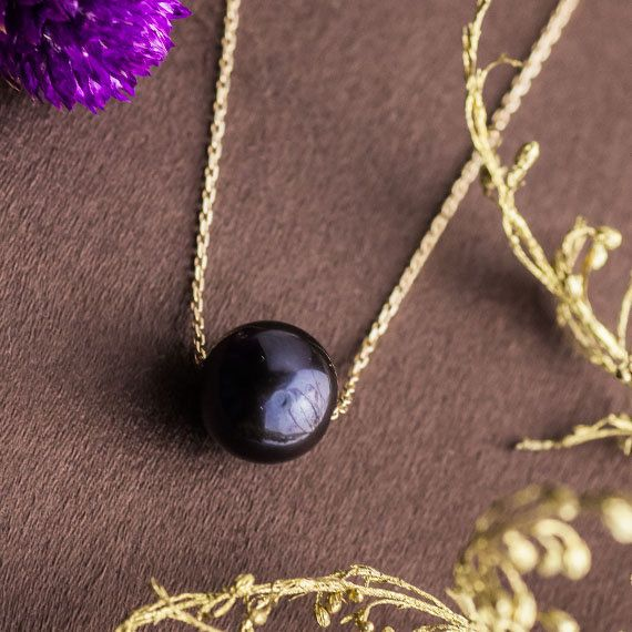 Perfect Round Black Culture Pearl Pendant set in by ZEHAVAJEWELRY