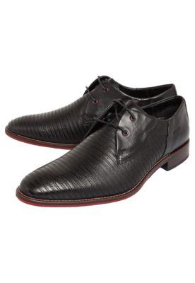 Sapato Social Ferracini Pespontos Preto, com pespontos estilizados e fecho em cadarço.