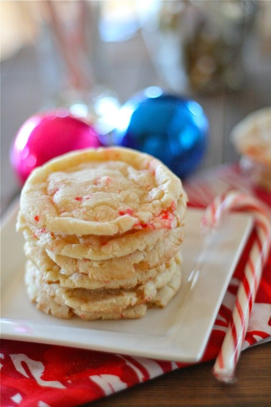Candy Cane Crinkle Cookies--chewy, minty and perfect for the holidays. I make these EVERY year to give to the neighbors!