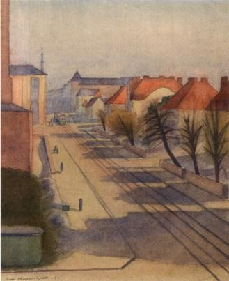 GRETA HALLFORS-SIPILA  View Towards Factory Street (1946)