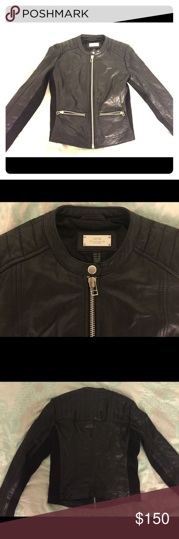 Mango Genuine Leather Black Bomber Jacket XS XXS Modern, clean simple look, very slimming and figure flattering, stretch mixed wool panels under arms.  Qualify Black Leather, very well made US: XXS EU: XS (fits like XS) Pristine like new condition (barely worn since I have another jacket just like this one) Mango Jackets & Coats