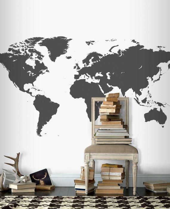 Världskarta+grå+tapet