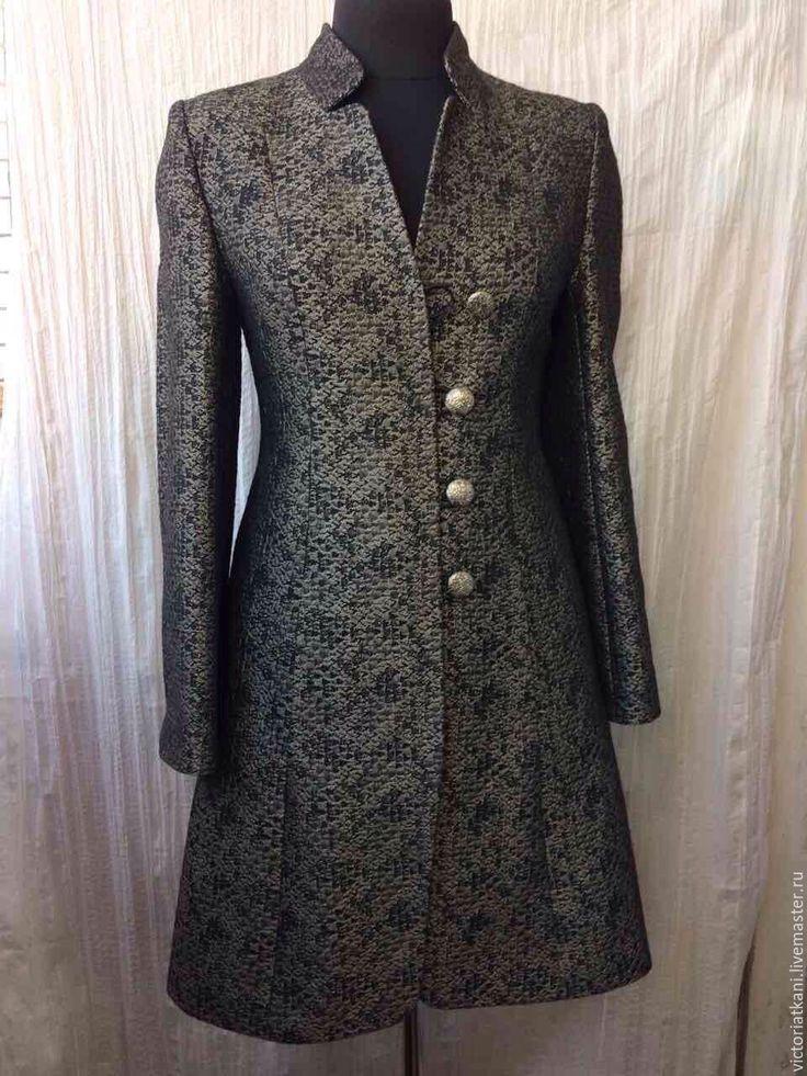 Купить Пальто из жаккарда. - черный, абстрактный, пальто, пальто женское, пальто демисезонное