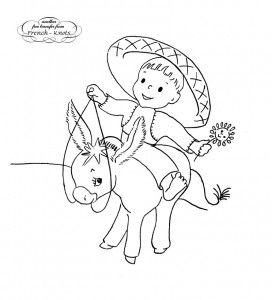 mexican boy on a donkey embroidery transfer pattern