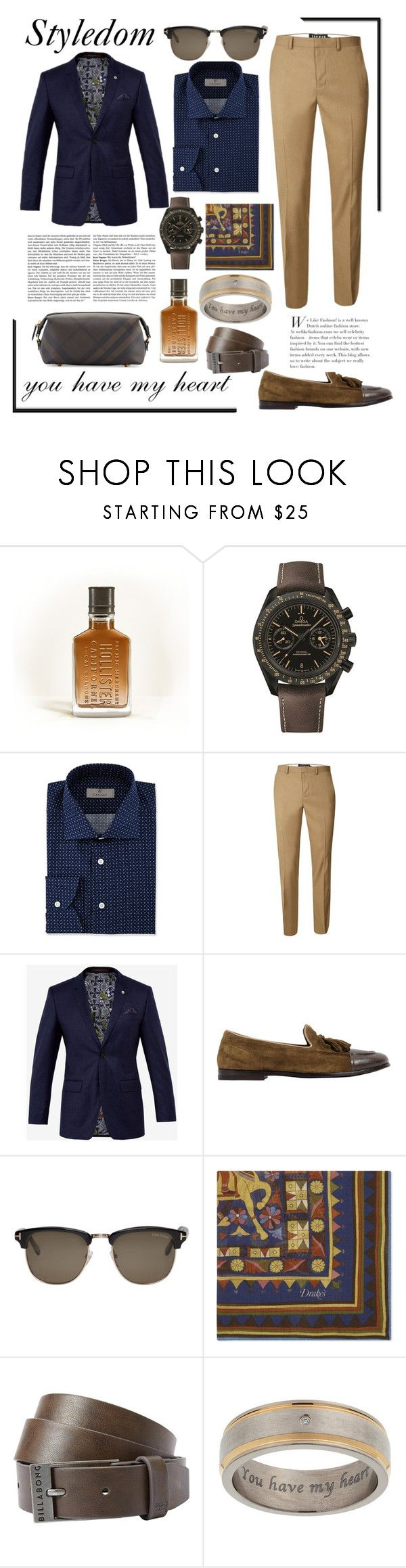 """Mr. Stylish"" by khouryolivia ❤ liked on Polyvore featuring Hollister Co., OMEGA, Canali, Topman, Ted Baker, Alberto Fasciani, Tom Ford, Drakes London, Billabong and Burberry"