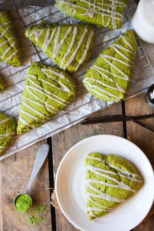 Matcha Green Tea Scones with Vanilla Bean Icing More