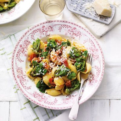 Conchiglie pasta with flower sprouts & chorizo
