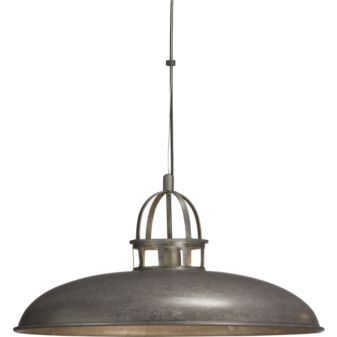 "Victory Pendant Lamp. 25.75""dia.x12.75""H light industry. Factory lighting in acid-washed solid iron is hot-dip galvanized to a raw crystalline gunmetal grey patina. Sleek handspun canopy downlights, open cage on top casts architectural uplight. Black cord tandems with metal cable for strong suspension. Each rustproof piece has unique variations and color formations and will take on a darker look over time. Clear matte powdercoat finish. $149.00"