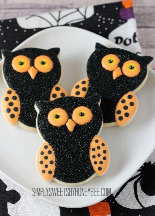 Halloween Owl Cookies - simplysweetsbyhoneybee.com