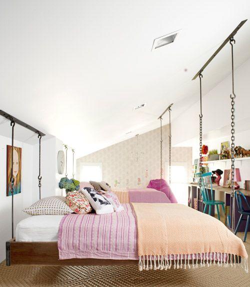 LoVe!! Image Via: A Life's Design: Dreams Bedrooms, Kids Bedrooms, Bedrooms Makeovers, Attic Bedrooms, Hanging Beds, Suspenders Beds, Girls Rooms, Kids Rooms, Swings Beds