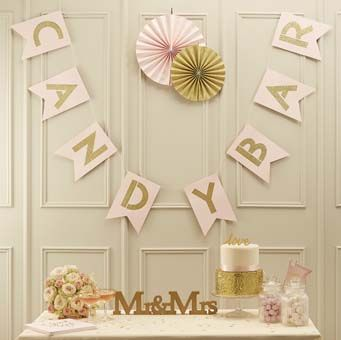 This stunning and eye catching Candy Bar bunting is perfect to glitz up any wedding venue. Ideal for the wedding reception behind the candy bar!