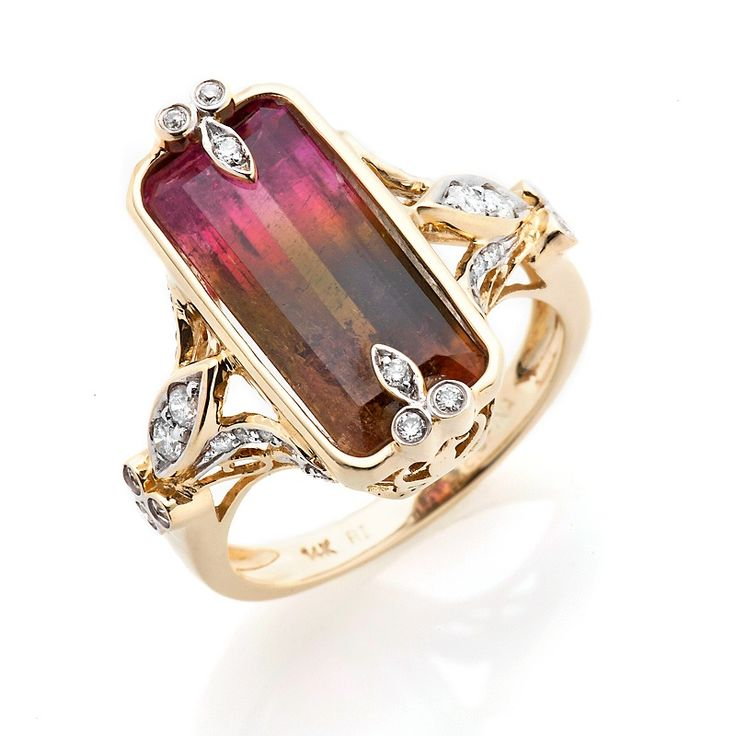 Rarities: Fine Jewelry with Carol Brodie   6.6ct Tourmaline and Diamond 14K Gold Ring