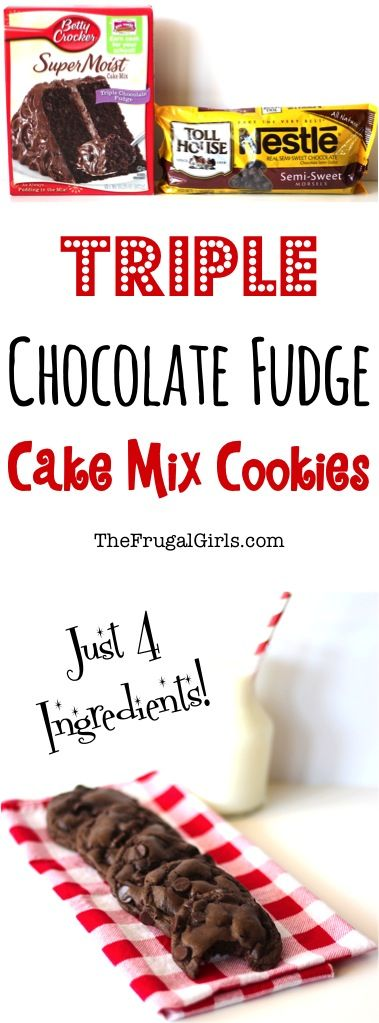 Triple Chocolate Fudge Cake Mix Cookies Recipe! ~ from TheFrugalGirls.com ~ this Easy Cookie Recipe has just 4 ingredients, and they are rich, moist, and a Choc-O-Holic