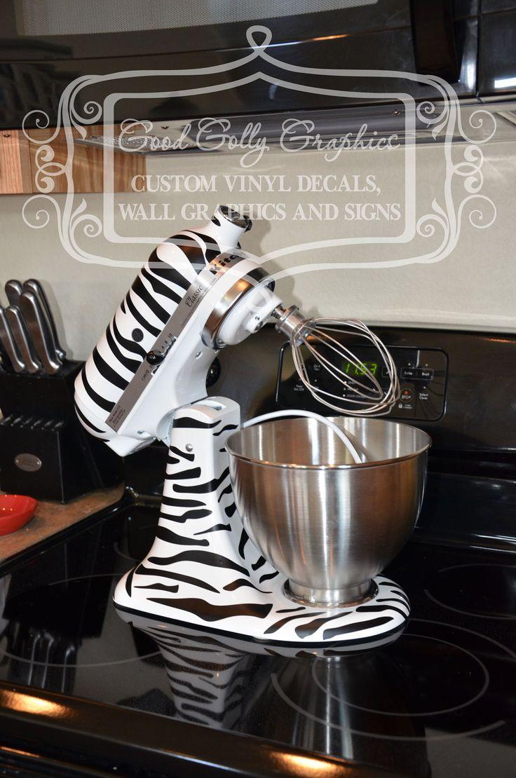 Kitchen mixer vinyl decal zebra print decal set vinyls for Zebra kitchen set