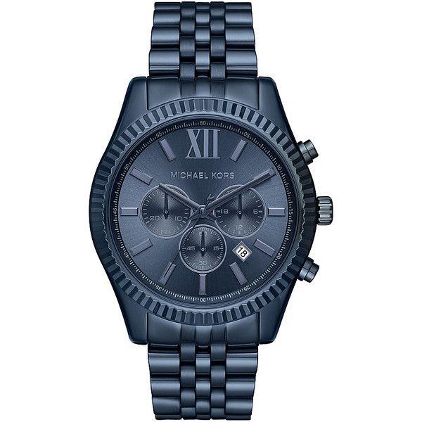 Michael Kors Watches Lexington Chronograph Watch ($275) ❤ liked on Polyvore featuring men's fashion, men's jewelry, men's watches, blue, mens quartz watches, michael kors mens watches, mens blue watches and mens chronograph watches