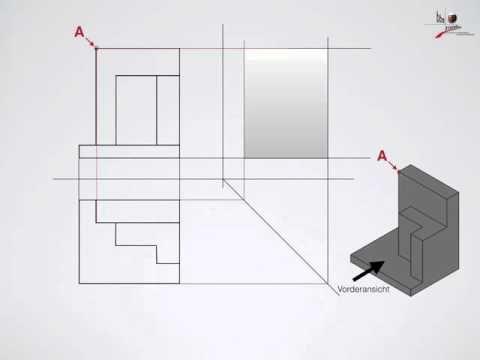 Technisches Zeichnen - 3 Ansichten, Seitenansicht erstellen