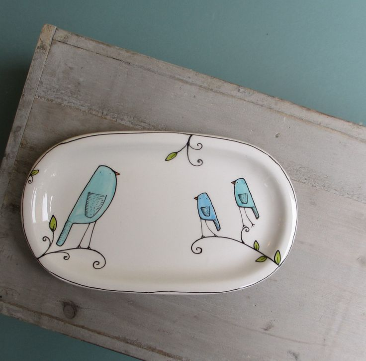 So simple, yet so cute! Blue bird spoon rest for her mother's day small by catherinereece. $20.00, via Etsy.