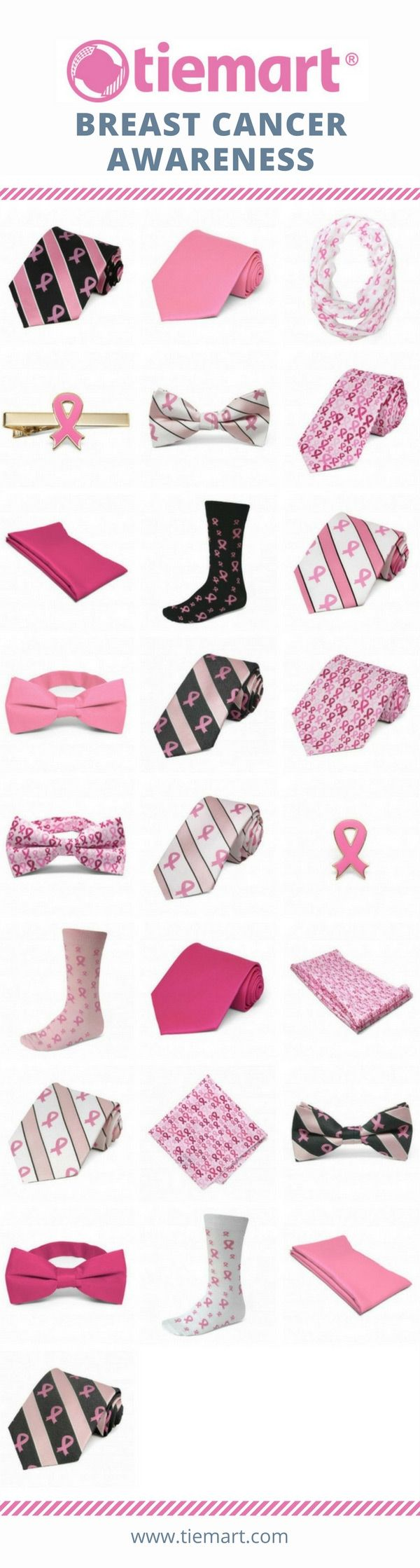 Show your pink pride with these breast cancer awareness ties, socks, scarves and other accessories. Budget friendly prices with large quantities in stock for your group events.
