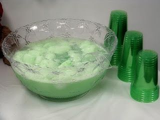 Green Shower Punch -   Ingredients: 1 quart Green Lime Sherbet  1 packet can of frozen lemonade  2 liters Sprite