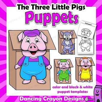 Three Little Pigs Craft Activitiy Printable Puppet Templates P