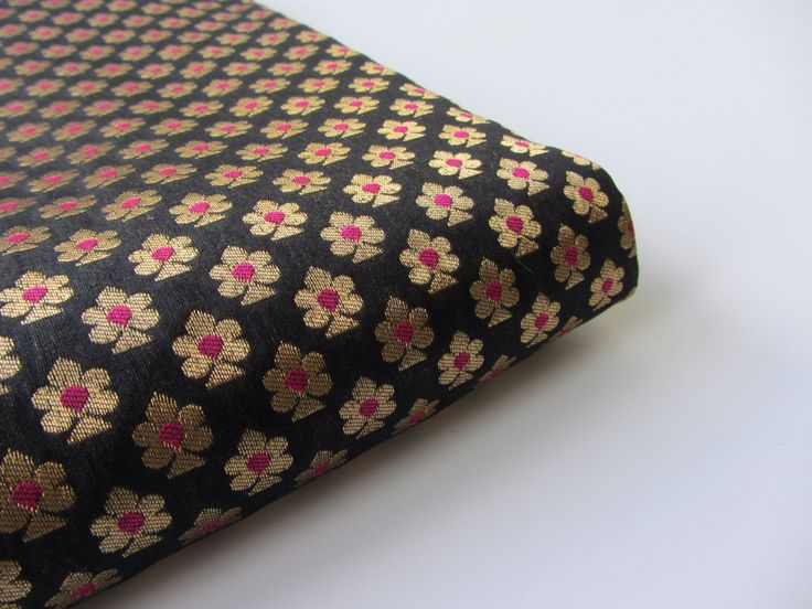 Black pink gold small flowers silk brocade from India fabric nr 622 - 1/4 yard -  fat quarter by SilksByUmf on Etsy