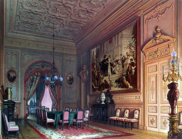 Особняк барона А.Л. Штиглица в Петербурге, 1870 год  Акварели Луиджи Премацци — российского художника итальянского происхождения.