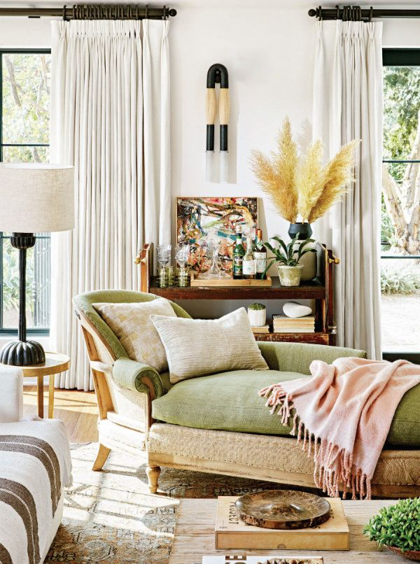 Olive Hunter Green On Chaise Lounge Living Room