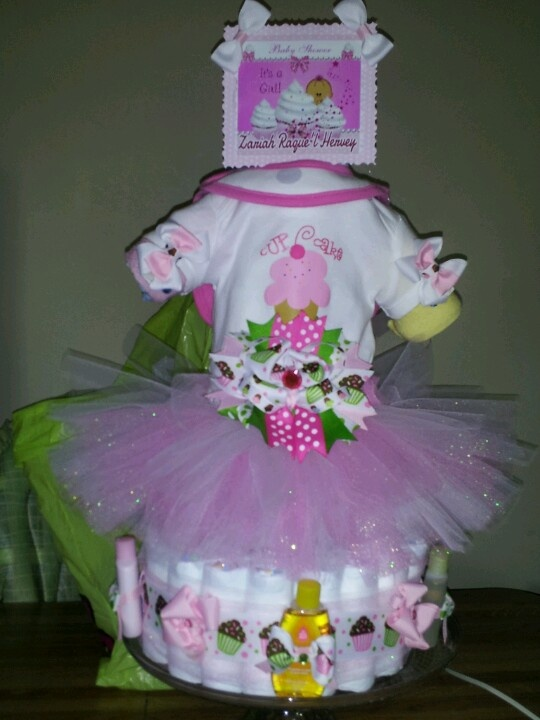 Tutu Amp Cupcake Theme Diaper Cake Baby Shower Pinterest