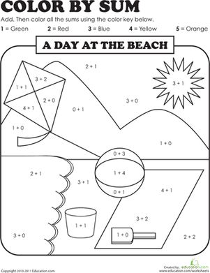 color by sum beach day number worksheets1st grade - Coloring Worksheets For 1st Grade