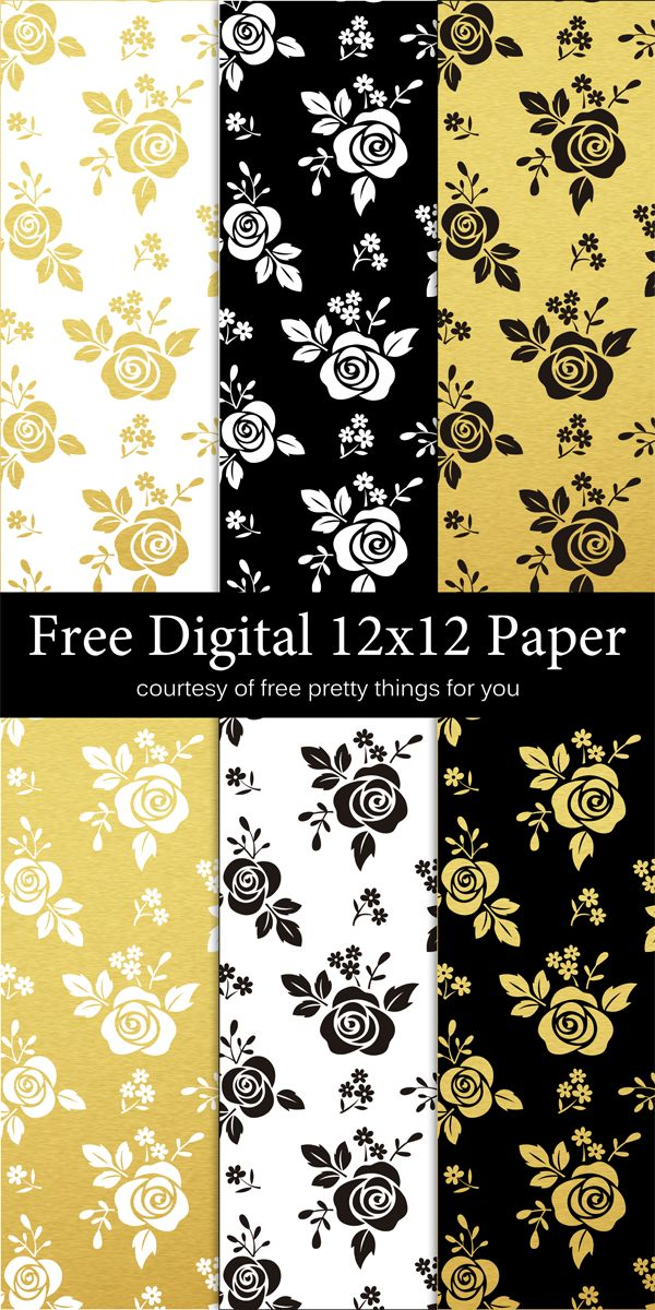 Scrapbook Paper- Black White and Gold leaf - Free Pretty Things For You