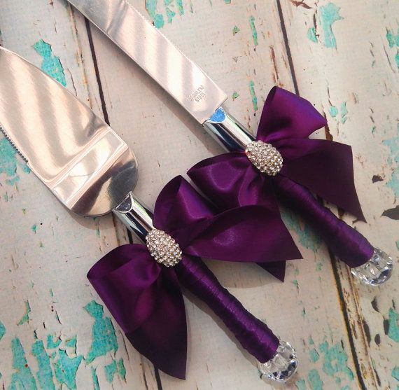 Your Color , Wedding Cake Serving Set , Plum Wedding knife set ,Wedding Cake…
