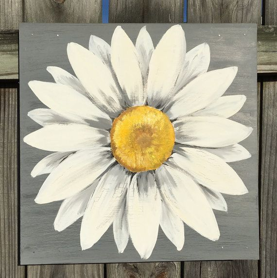 Daisy+Painting+on+a+Wood+Panel+Original+Flower+by+ClarabelleArte