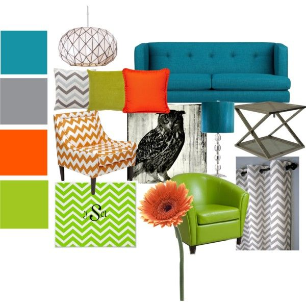 "Gray And Teal Living Room By Jurzychic On Polyvore: ""Blue, Orange, Green And Gray Living Room Set"" By"