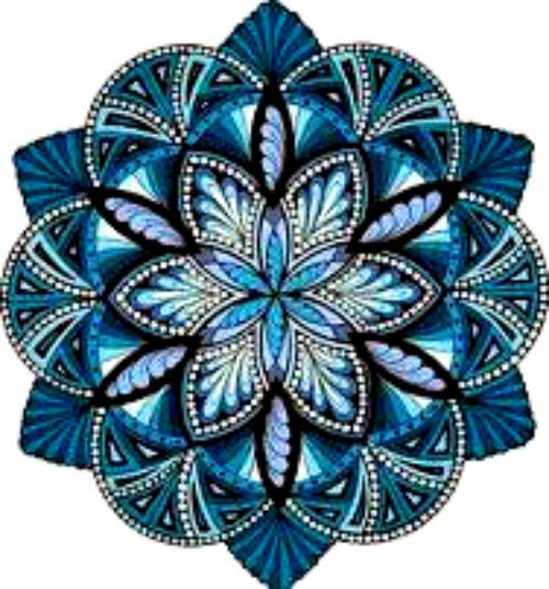 20 Water Slide Nail Art Decals Kuanyin Mandala Blue Trending 3/8 Th Inch